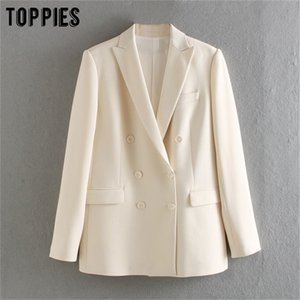 TopPies 2020 Blazer blanco para las mujeres Blazer de verano Double Breasted Chaquetas Ladies Traje formal Jackets LJ200815