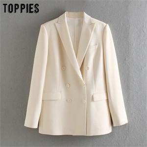 Toppies 2020 Blazer Branco para Mulheres Blazer Verão Casacos Breasted Casacos Formal Casacos LJ200815