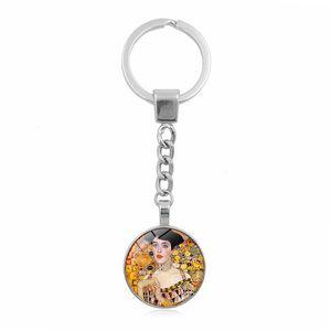 Gustav Klimt Kiss Kilkchain Ювелирные Изделия с серебряным цветным стеклом Cabochon Klimt Kiss Pattern Car Keychain Ring для женщин подарок JLLLIGY