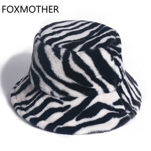 FOXMOTHER New Soft Warm Fishing Cap Gorros Black White Striped Zebra Bucket Hats Winter Women Lady Gorros 201009