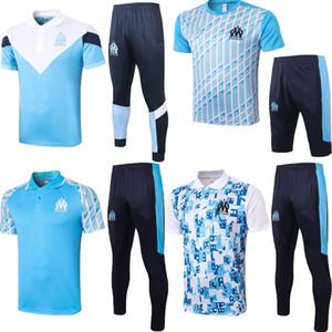 20 21 Olympique de Marseille Payet Thauvin Polo Soccer Jersey 2020 2021 Marseille Blue L.Gustavo Lopez Круглая шейка тренировочный костюм футбольный набор