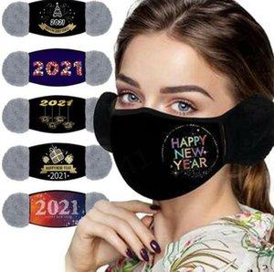 Happy New Year Mask 2021 Earmuffs Mask Winter Warm Ear Muff Face Masks Outdoor Soft Thick Ear Warmer Earlap Designer Masks DHC4828