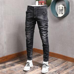 Erkek Jeans Kore Trend Siyah Denim Jeans Men Düzenli / Artı Kadife Skinny Jeans 2021