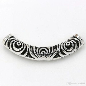 Heiß! 20pcs tibetanische silberne Zink-Legierung hohle gebogenes Rohr Spacer Perlen 14x52 .5mm passten die Halskette Diy Zubehör