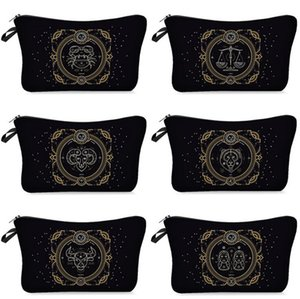 Twelve Constellations Printing Cosmetic Bags Women MakeUp Pouch Toiletries Bag Travel Washing Bag Casual Coin Purses Storage Bag