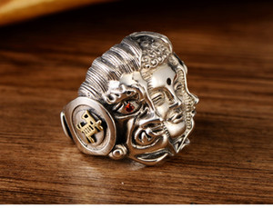 S925 men pure silver Buddha magic two side the retro domineering personality hipster silver ring
