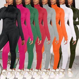 ELOS-Spring Длинные рукава Женщины Slim Dreshed Tougsuit Plus Размер 2 шт. Наборы