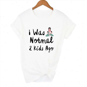 I Was Normal 2 Kids Ago T shirt Women Short Sleeve Mom Life tshirt Women Tee Mothers Day Gift for Lady Clothes