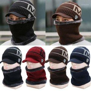 Homens Mulheres Quentes Chapéu de Inverno Knit Visor Beanie Fleece Fored Beanie Beanie Com Brim Cap Hats1