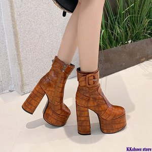 2020 new arrival women ankle boots buckle zip high heels platform boots sexy party prom Night Club Shoes woman