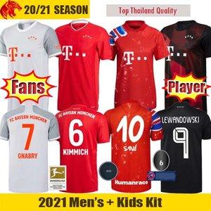 20 21 Bayern Munich Camisetas de fútbol SANE LEWANDOWSKI Versión para fanáticos y jugadores Bayern MULLER GNABRY DAVIES ZIRKZEE Camiseta Hombre Niños Kit
