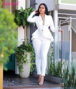 Fashion Ruffle Scuba Casual Due pezzi Set Solido con scollo a V Manica lunga Blazer Cappotto Cappotto Pantaloni Pantaloni da matita Ufficio Signora Business Suits1