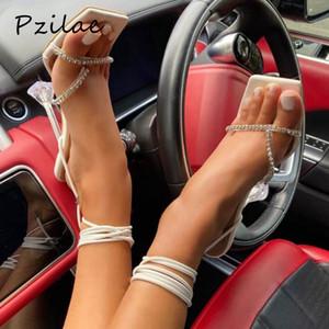 Pzilae 2020 Mujeres Sandalias de talón de cristal Verano Tacones altos Rhinestone Strap Lace Up Shoes Ladies Sexy Fiesta Boda Boda Tamaño 42 C0202