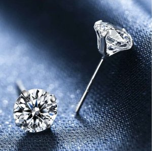 sterling silver fashion jewelry romantic charms ethnic wedding vintage crystal 4 claw stud earrings ps1566