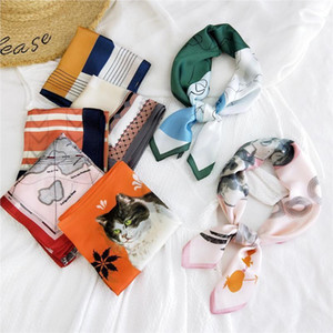 70X70CM Fashion Women Square Scarf Wraps Elegant Floral Head Neck Hair Tie Band Neckerchief bandana scarf1