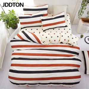 JDDTON Classical Style Bedding Stripes and Polka Dots Bed Linen Duvet Cover Set AB Side Bed Sheet Set Pillowcase Cover BE103