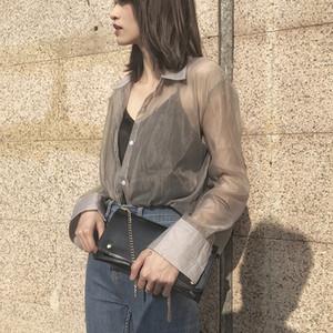 Cheerart transparente Bluse Frauen bloße Spitze durchschauen Langarm-Shirt Damen Tüll Top Frühling-Sommer-Kleidung 201016