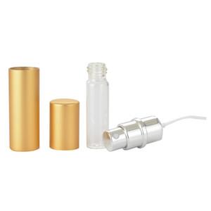 Портативный Mul-Color Пустой спрей Парфюмерные флакон 5 мл алюминиевый алюминиевый анодированный компактный парфюмерный атомов аромат пустой стеклянный аромат GWB4262