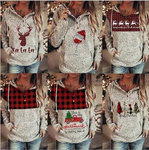 Рождество Толстовка Женщина Plaid Buffalo Лоскутной Толстовки с капюшоном Рождественской елки Elk Красного автомобилем Trucker Printed Пуловер Блуза Tops CZ111603