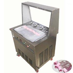 Ticari Büyük Kare Pan Yoğurt Buz Ruloları Makine Tayland Tayland Kızarmış Dondurma Makinesi Dört Barrel1