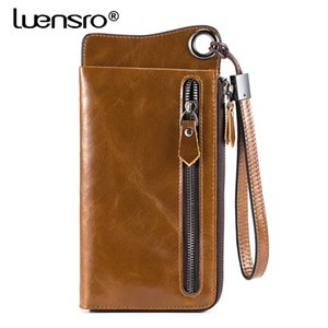 Luensro Vintage long Portefeuilles Hommes 100% Portefeuille en cuir véritable carte Zipper Porte-monnaie pour Iphone7s bourse