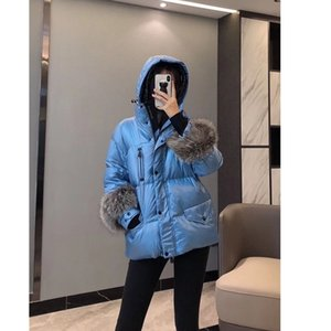 90% white goose down coat Female Winter Jacket Women Hooded Warm short down coat genuine fox fur sleeve high quality down coat 201103