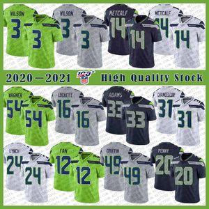 3 Russell Wilson SeattleSeahawk Futbol Jersey14 DK Metcalf 33 Jamal Adams Bobby Wagner Tyler Lockett Kam Chancellor 12s Seahawks