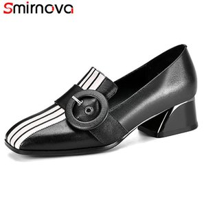 Smirnova 2020 new arrive genuine leather pumps women shoes mixed colors buckle single shoes spring summer casual woman