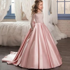 Summer Pink Bridesmaid Trailing Dress Lace Long Sleeve Princess Kids Dresses For Girls Children Elegant Party Wedding Dress 8 12