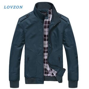 Lovzon Spring Autumn Casual Coats Solid Color Men's Sportswear Stand Collar Slim Mens Bomber Jackets 2020