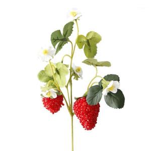 Декоративные цветы венки 6 шт. Акриловая клубника искусственный фрукт для вечеринки дома сад цветочный декор поддельный цветок B1