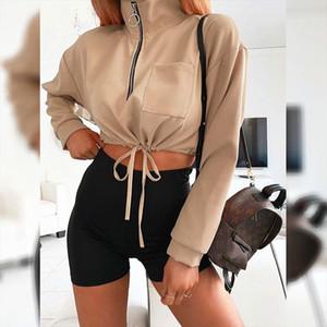 2020 Winter Women Short Hoodies Series Autumn Streetwear Sexy Solid Khaki Black Long Sleeve Pollover Sweatshirt For Women