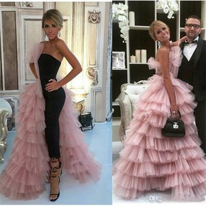 New Fashion Jumpsuits Prom Dresses With Overskirt One Side Layered Tulle Skirt Celebrity Evening Gowns Women Formal Wear Party Dress
