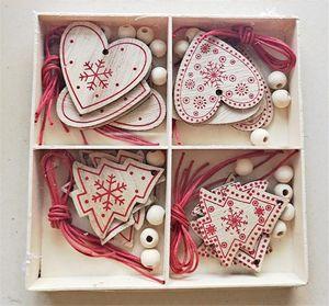 Toptan Noel Süsler Noel Ağacı Geyik Kar Tanesi Kardan Adam Evi Ahşap Kutu Dekorasyon Sevgililer Günü Aşk Süsleri FWC3335