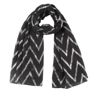 Foxmother Sliver Wave Zig Design Black Color Zag Gifts Chevron White Glitter Scarf Foulard Wraps Grey Foil Womens Mother New tsetCPC