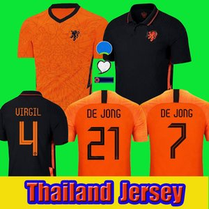Holanda Jersey Jersey 2020 2021 de Jong Holland Camisas de futebol 20 21 Stotman Memphis Promes Men + Kit Kit uniformes