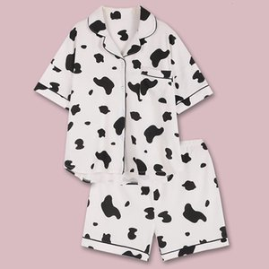 Vaca impresión pijamas nightie pijamas ropa de hogar para pijama femme 2020 algodón camisones mujeres verano