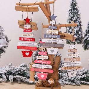 السنة الجديدة عيد الميلاد خشبية الحرفية زينة شجرة عيد الميلاد زخرفة الخشب الطبيعي المعلقات المعلقة هدايا للأطفال JK2011XB