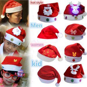 Warehouse wholesale Men Women Christmas Decorations Christmas adult Red Ordinary Santa Hat Santa Claus Children Santa Hat DHL free