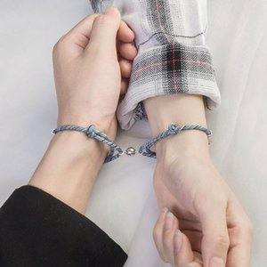 أساور زوجين للنساء الرجال سحر سوار الصداقة حبل مضفر المسافة المغناطيسي سوار عاشق حبل مجوهرات بالجملة