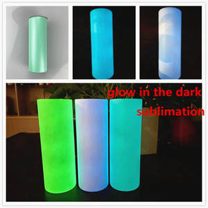sublimation STRAIGHT tumbler blank glow in the dark tumbler 20oz with Luminous paint Luminescent staliness steel tumblers magic travel cup