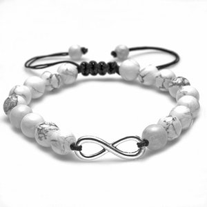 Infinity Lava rock turquoise bracelet stone beads pull adjustable bracelets for women men fashion jewelry will and sandy gift white black