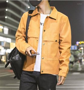 Lapela Neck manga comprida Casacos de Slim cor sólida Masculino Carga Outerwears Dropshipping Designer Mens Coats Cardigan Plus Size