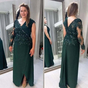 Setwell Deep V-neck Sheath Mother Of The Bride Dresses Long Sleeves Split Beaded Lace Appliques Floor Length Prom Party Gowns