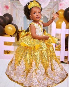 Gold Lace Sparkly 2020 Flower Girl Dresses Ball Gown Sequined Little Girl Wedding Dresses Cheap Communion Pageant Dresses Gowns ZJ710