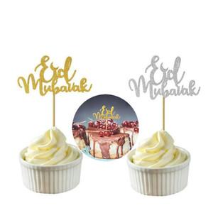 10x Glitter Cake Toppers Eid Mubarak Party Ramadan Decor Cupcake Topper Muslim EID Cupcake Flags Cake Decor Baby Birthday Party