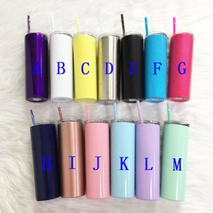 DHL Blanks Skinny Tumbler Stainless Steel Coffee Mug Insulated Wine Tumbler With Straws Vacuum White Cup Sea Shipping 20OZ Cups