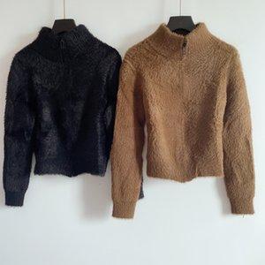 1112 Ücretsiz Kargo 2020 Sonbahar Marka Same Stil Düzenli Uzun Kollu Mürettebat Boyun Haki Siyah Hırka Kint Sweate Kadınlar Giyim QIAN