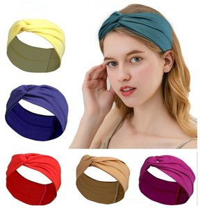 New Women Knotted Cross Wide Headband Sports Yoga Headwrap Hairband Stretch Turban Head Band Ladies Hair Accessories