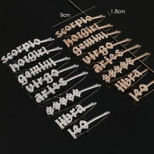 12 Constellation Crystal Hair Clips Rhinestone Zodiac Hair Pins Gemini Cancer Leo Virgo Letter Hairpins Accessories